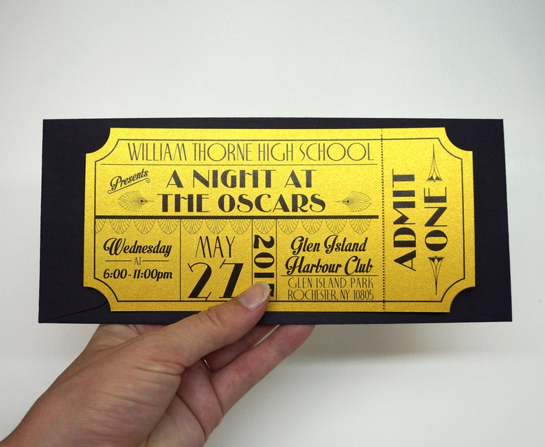 Old Hollywood Art Deco Red Carpet Gold Movie Ticket Prom image 0