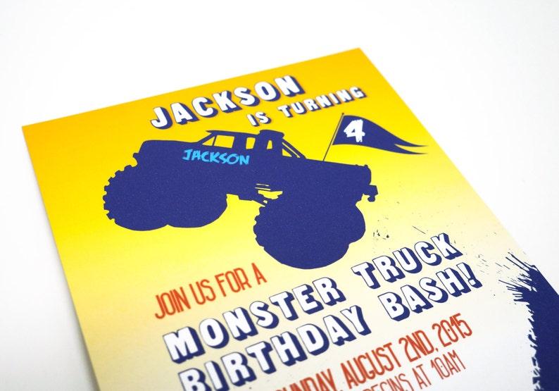 Monster Truck Birthday Invitation image 0