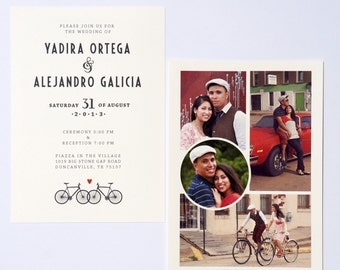 Bicycle Wedding Invitation with Photo Collage DIGITAL DESIGN