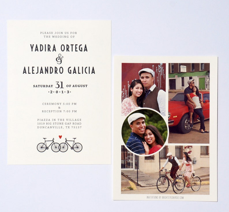 Bicycle Wedding Invitation with Photo Collage image 0