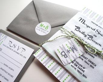 Modern Handkerchief Wedding Invitation: Set of 50 Invitations