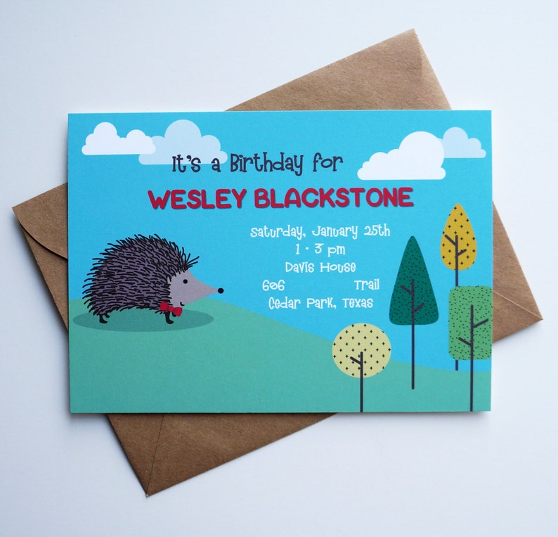 Hedgehog Fun Woodland Birthday Invitation  Boy Birthday image 0