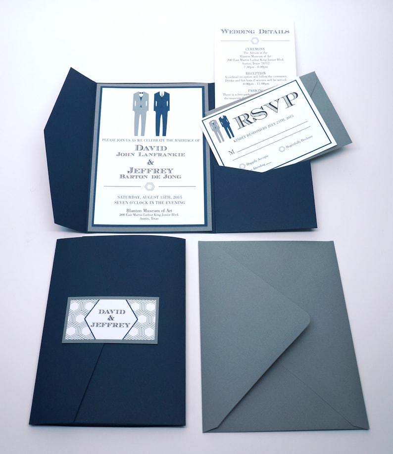 Two Suits Formal Pocket Fold Wedding Invitation SAMPLE image 0