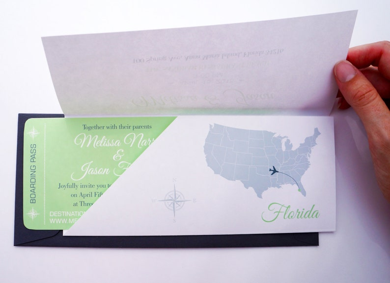 Boarding Pass Wedding Invitation in Sleeve : Destination image 0