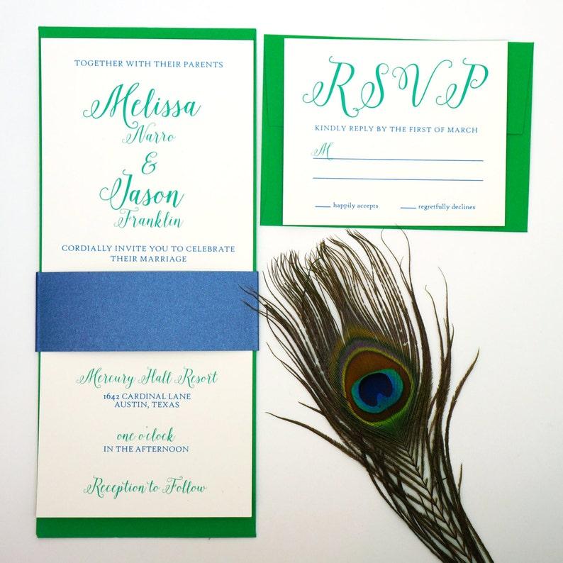 Real Peacock Wedding Invitation image 0