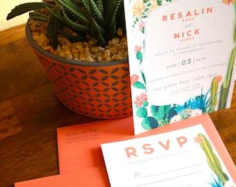 Cactus in Bloom Desert Wedding Invitation