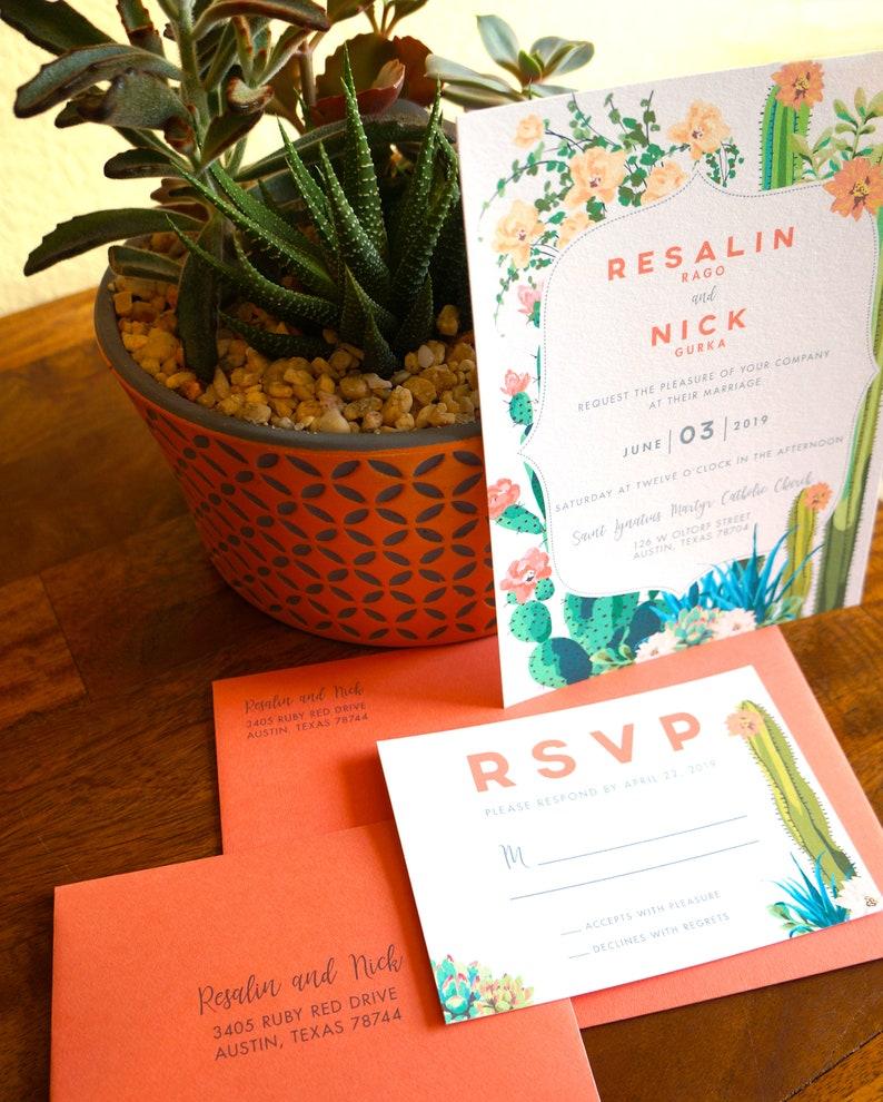 Cactus in Bloom Desert Wedding Invitation image 0
