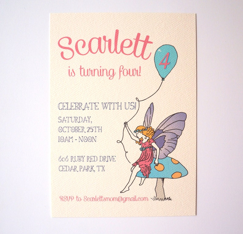 Classic Fairy Birthday Invitation  Fairy Illustration Garden image 0
