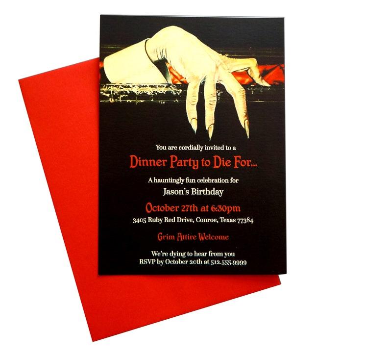 Haunted Dracula Dinner Party Birthday Invitation image 0