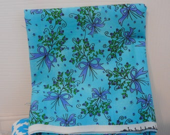 Cotton Fabric  Blue with Ribbons and :Lavender Flowers