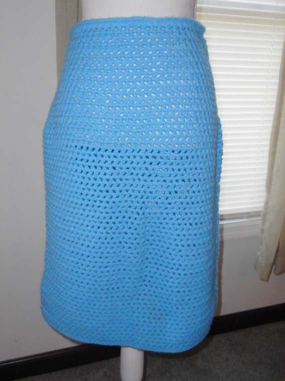 Vintage 1960's Hand Crocheted Skirt Blue Not Lined