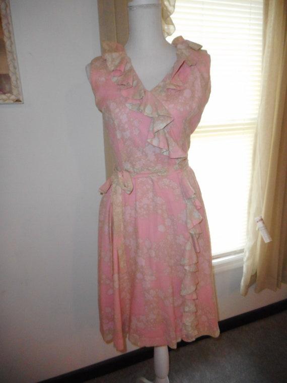Vintage 1960's Dress Romantic Floral Fabric Ruffl… - image 1