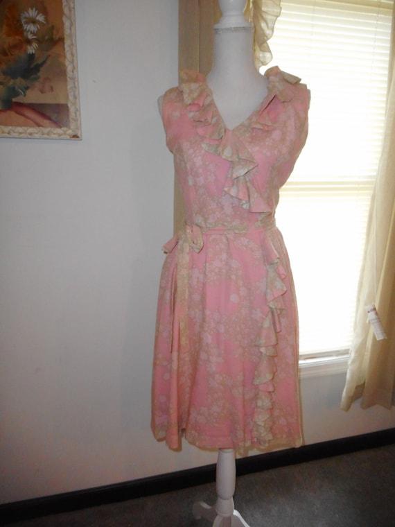 Vintage 1960's Dress Romantic Floral Fabric Ruffl… - image 2