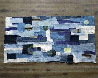 CROP CIRCLES Fabric Textile Wall Art,Mixed Media,Denim,Silk,Fiber,Woven,Blue,Fluorescent,Yellow,Stripe,Gold,Selvage,Guayabera,Home,Painting