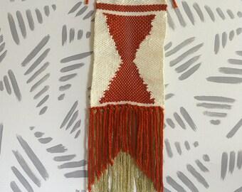 Wall Weaving | Woven Wall Art | Woven Wall Hanging | Wall Tapestry | Orange Rust Hourglass