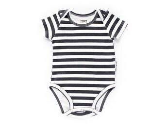 Baby Onesie, Baby Bodysuit, Baby One Piece, Organic Onesie - Black and White, Gender Neutral - Short Sleeve, Long Sleeve - Stripes