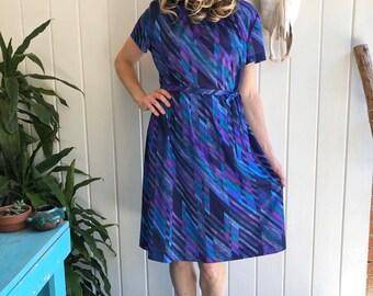 70s 80s Pussy Bow Dress Three R\u2019s 70s Op Art Mod Dress 3X 4X Vintage Plus Size Psychedelic Dress