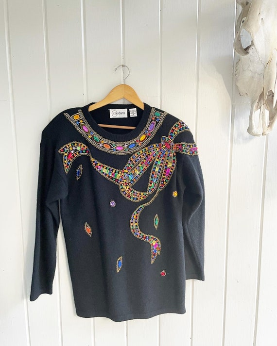 1980's Loud Vintage Bling Bedazzled Sweater by Ced