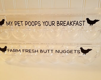 Novelty Egg Holder-Holds one dozen, Laid in the USA, Farm Fresh Butt Nuggets My Pet Poops Breakfast
