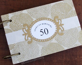 50th Anniversary Guest Book, 50 Years of Marriage, Advice Book, 50th Birthday, Guest Book with Removable Pages, Blossoms in Gold on Ivory