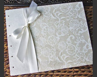 Elegant Guest Book, White Guest Book, Bridal Shower Guest Book, Lace Guest Book in White and Ivory {MADE upon ORDER}