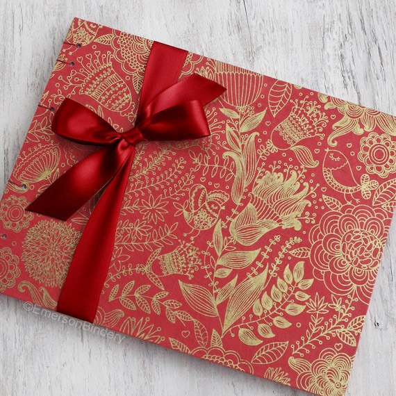Wedding Guest Book Bohemian Guest Book Red Guest Book  9674e8c02660