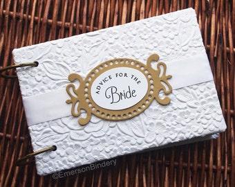 Advice for the Bride Book, Bridal Shower Advice Book, Advice for Newlyweds, Marriage Advice Book, Wedding Advice Book, White Blossom