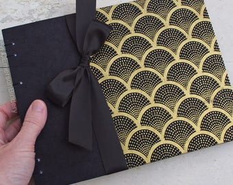 Wedding Guest Book, Art Deco Guest Book, Great Gatsby Party, Roaring 20s, Deco Fans in Black and Gold {MADE upon ORDER}