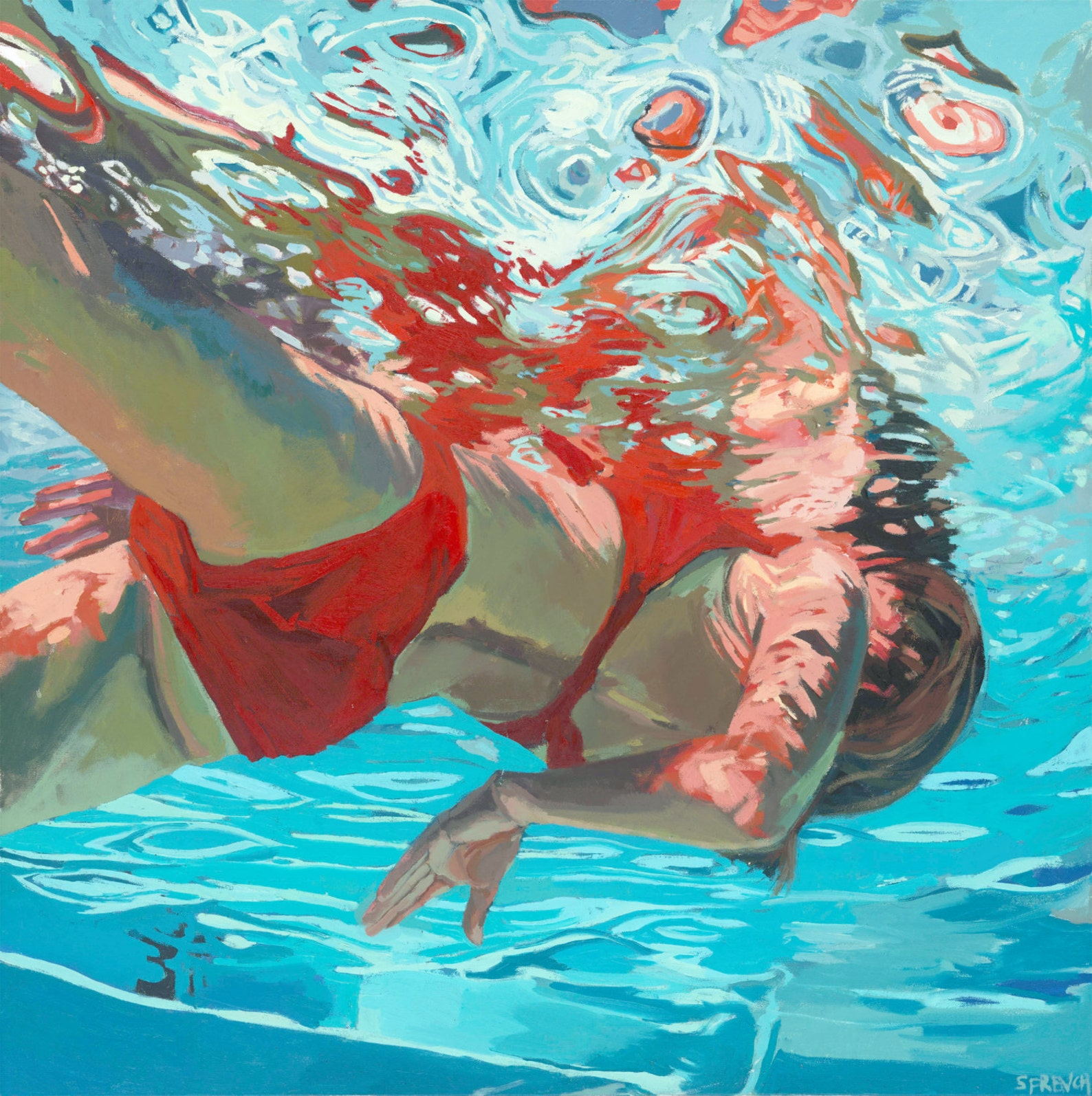 underwater painting of people by houston - HD1358×1362