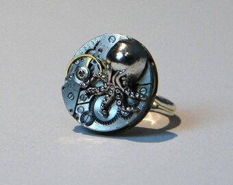 Silver plated Octopus charm and 1950's watch movement ring