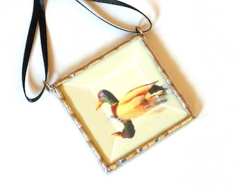 Mallard duck ornament, Stained glass ornament, home decor gift under 25, nature photograph ornament decoration, duck hunter gift