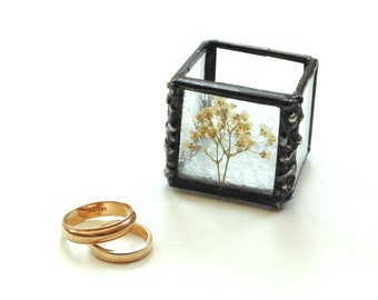 Pressed flower stained glass trinket jewelry box, Baby's Breath, engagement ring presentation storage