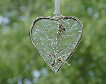 Horse memorial sympathy gift, stained glass heart suncatcher, remembrance condolences