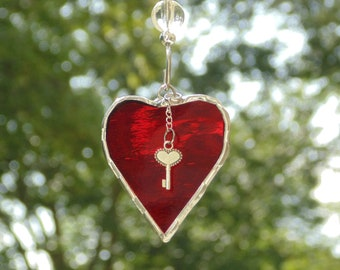 Key to my heart stained glass suncatcher ornament gift