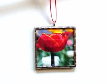 Red tulip flower photography ornament, everlasting flowers for Mom