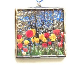 Tulip flower garden photograph ornament mini wall art