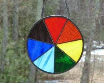 Stained glass rainbow circle suncatcher window decoration, pride symbol of hope and fresh beginnings