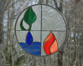 Stained glass suncatcher art panel, Earth Air Fire Water elements, symbols modern decoration
