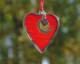 I love you to the moon and back, stained glass heart ornament keepsake