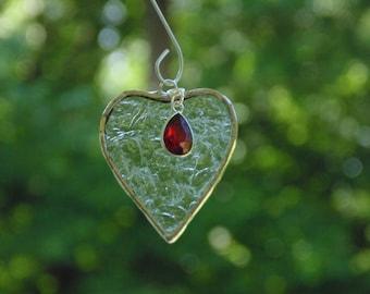 January garnet birthstone gift, stained glass mini heart suncatcher ornament