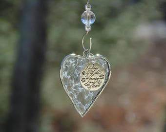 Dog sympathy gift in loving memory pet loss, stained glass heart suncatcher with custom personalized option