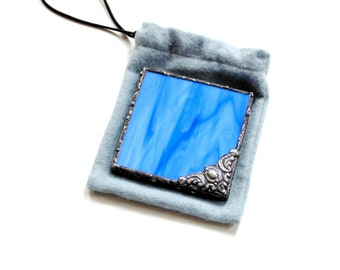 Pocket mirror stained glass small hand mirror gift for her