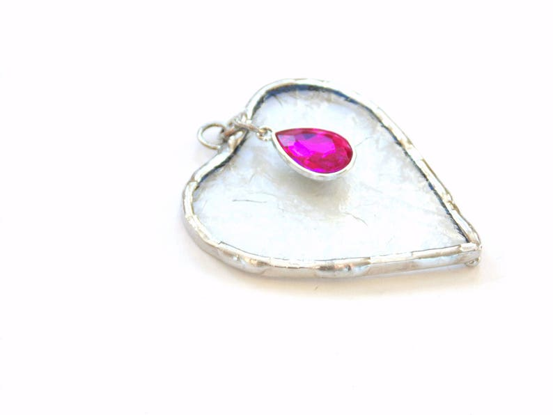 stained glass gem art mini heart suncatcher ornament October birthstone pink Tourmaline