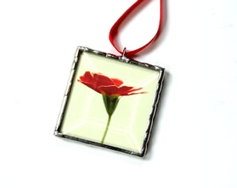 Red flower photograph, Summer decoration, stained glass mini wall art gift