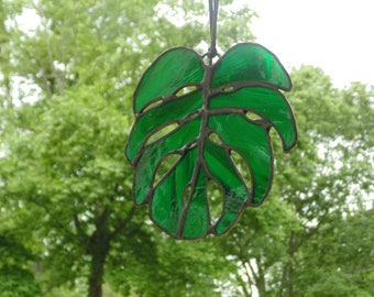 Monstera leaf stained glass large leaf window art, green tropical palm leaf home decor