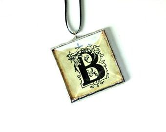 Letter ornament, family ornament, personalized, black letter B, custom initial ornament, Christmas ornament