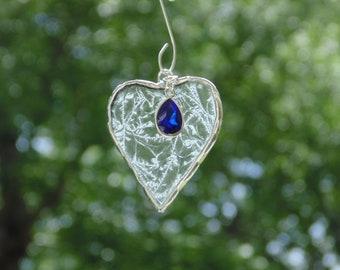 September birthstone blue sapphire, stained glass heart suncatcher Christmas ornament