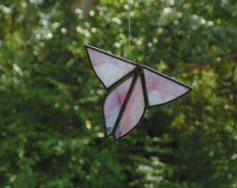 Stained glass butterfly suncatcher ornament, window hanging gift for her