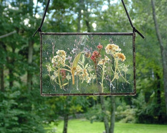 Pressed flower wall art, botanical terrarium stained glass
