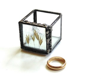 Pressed flowers stained glass trinket box, wedding ring bearer jewelry box, engagement presentation